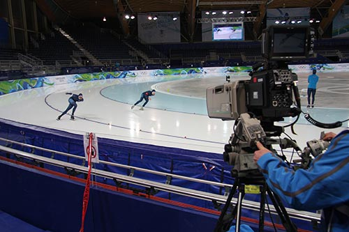 Camera filming olympic speed skaters