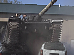 Tank Obliterating Two Cars